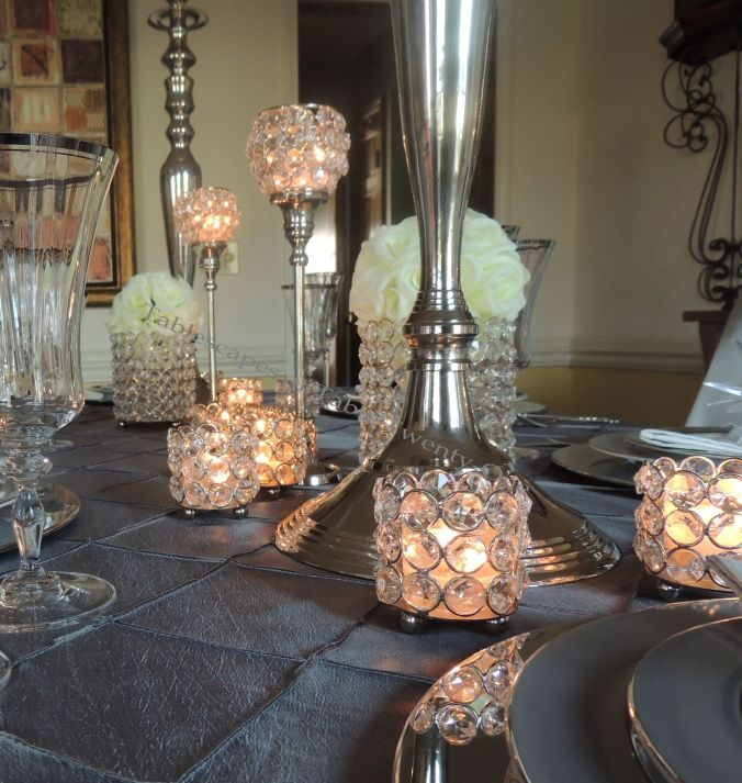 Tablescapes at Table Twenty-One, Platinum New Year's Eve Wedding: Centerpiece elements