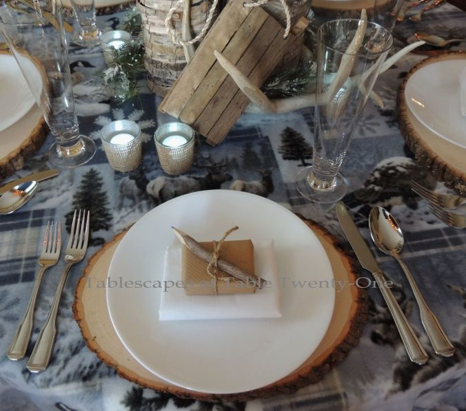 Tablescapes at Table Twenty-One, Woodland Men's Christmas Tablescape: Place setting