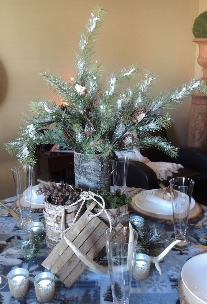 Tablescapes at Table Twenty-One, Woodland Men's Christmas Tablescape: Full centerpiece
