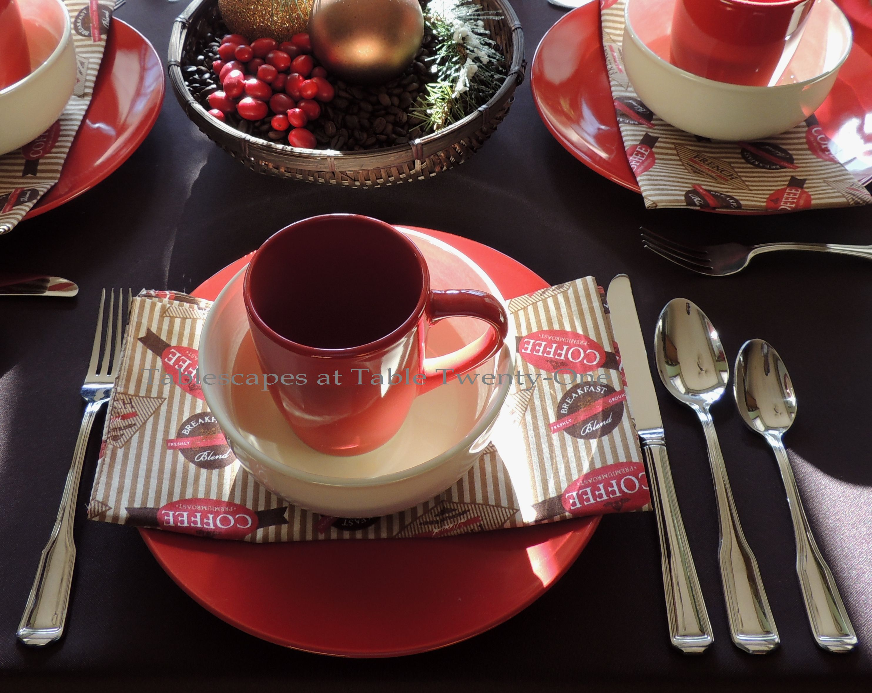 Tablescapes at Table Twenty-One, Christmas Coffee: Place setting