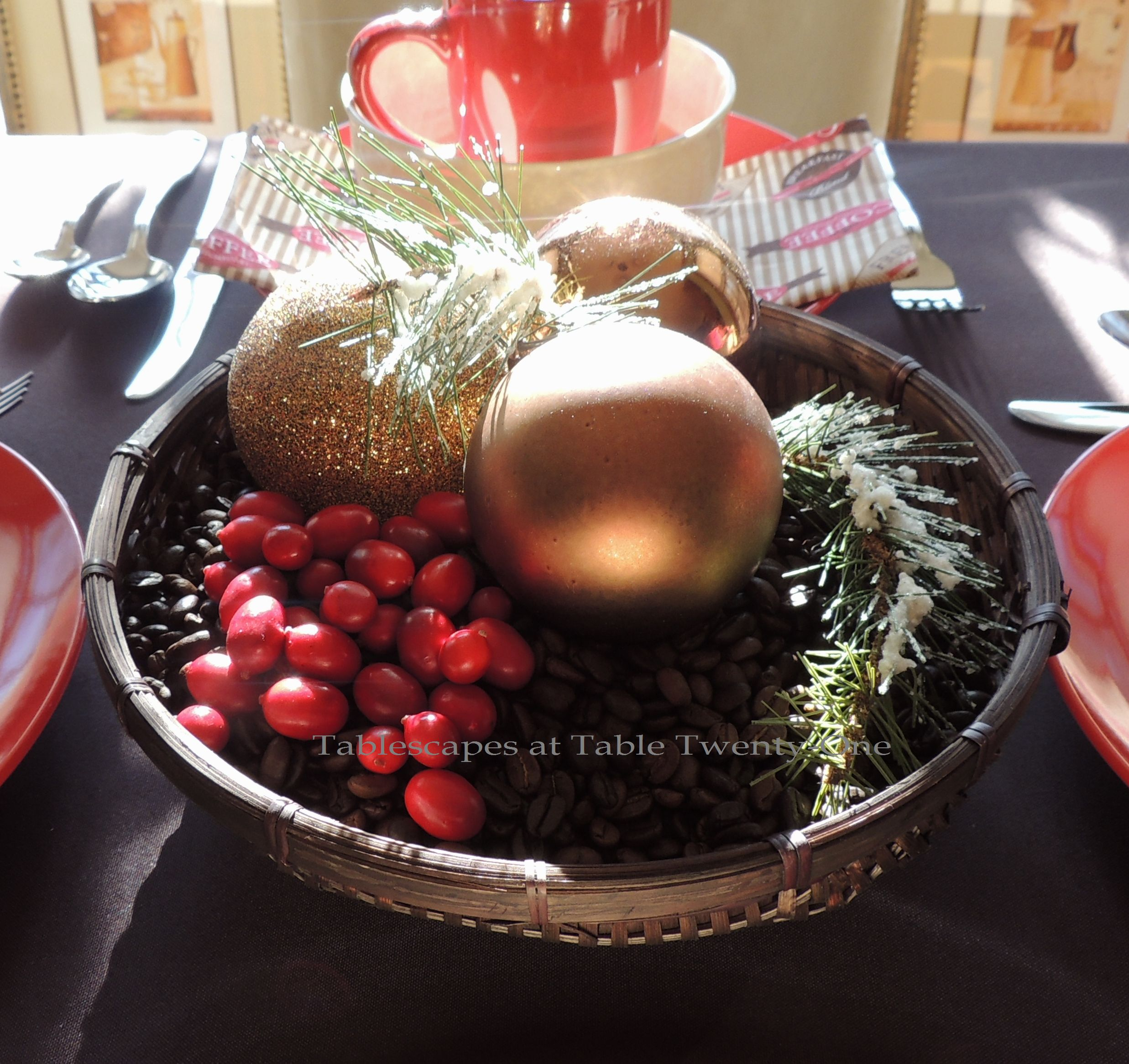 Tablescapes at Table Twenty-One, Christmas Coffee: Coffee bean/cranberry enterpiece