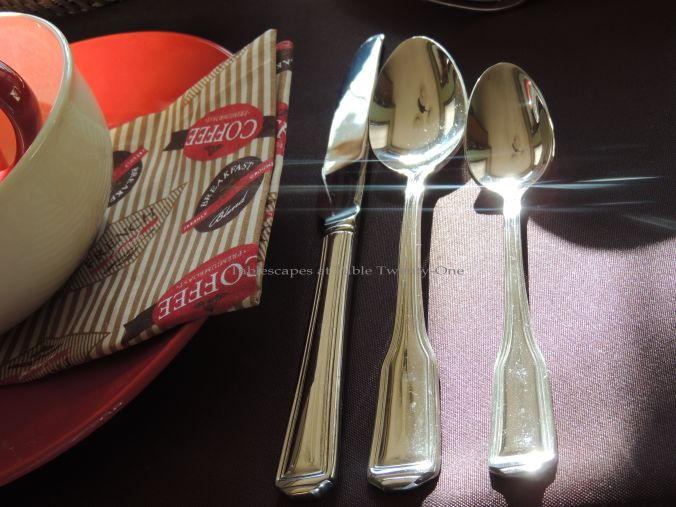 Tablescapes at Table Twenty-One, Christmas Coffee: Flatware