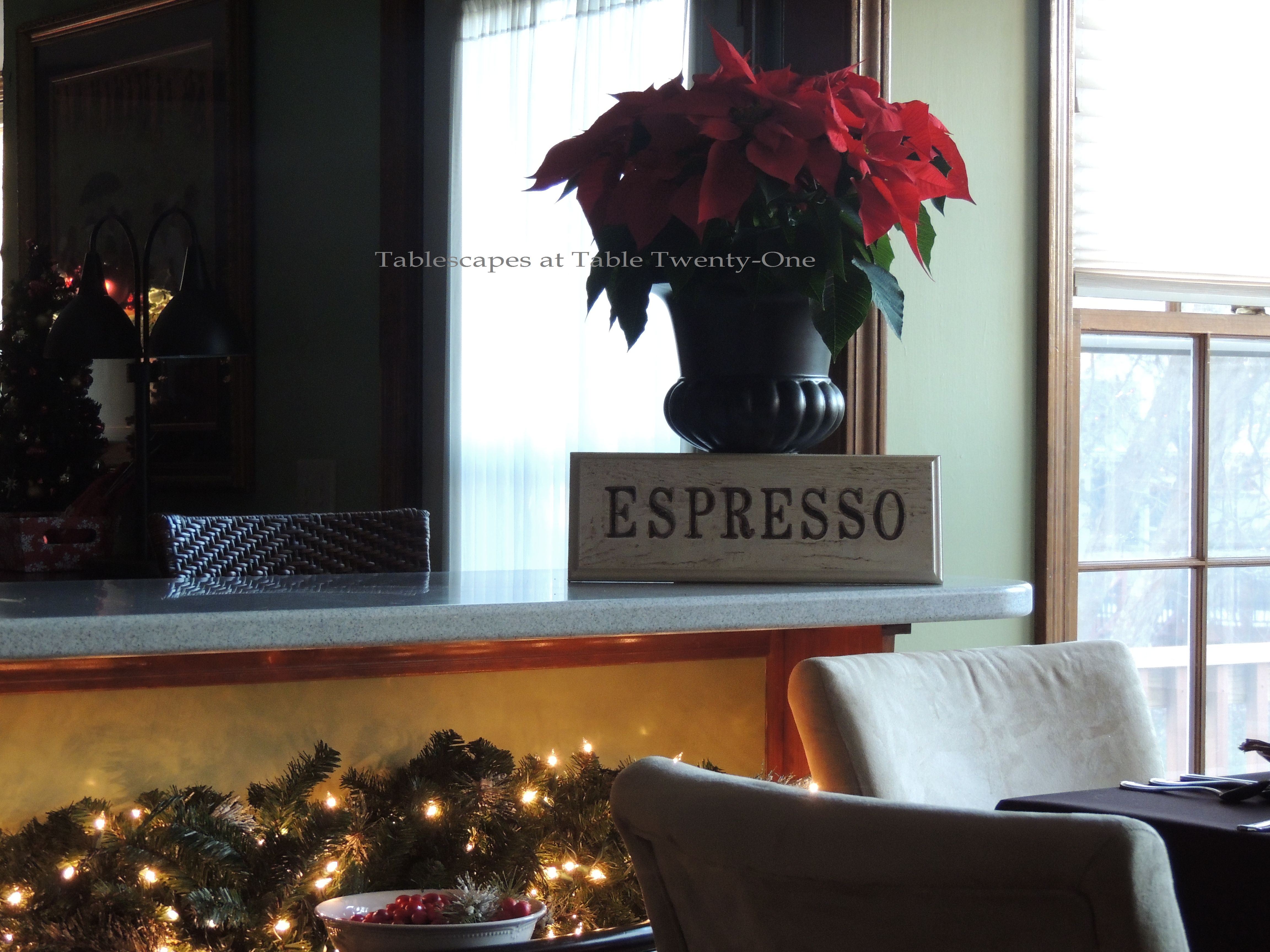 Tablescapes at Table Twenty-One, Christmas Coffee: Poinsettia on breakfast bar