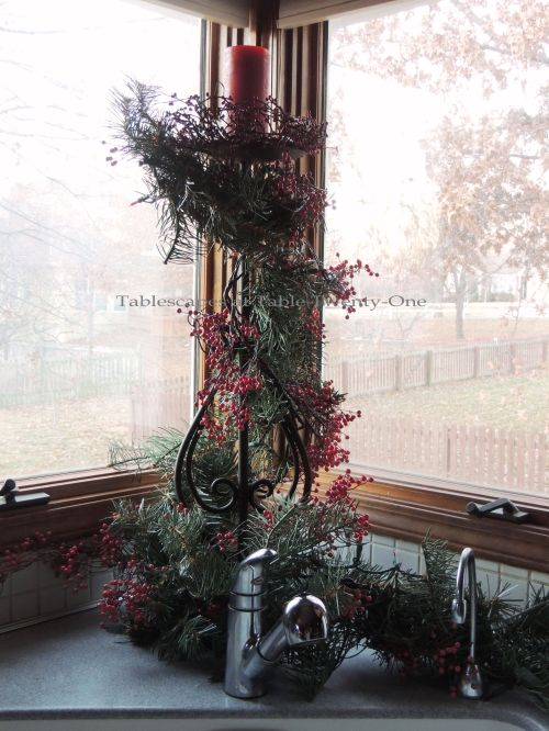 Tablescapes at Table Twenty-One, 'Twas the Night Before Christmas Progressive Dinner Decor: Candlestick arrangement in window at kitchen sink
