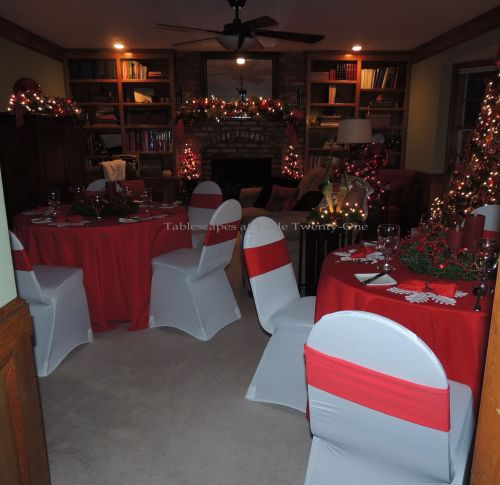 Tablescapes at Table Twenty-One, 'Twas the Night Before Christmas: View of living room from kitchen