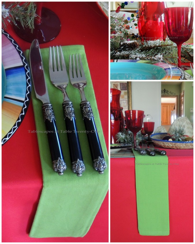 Tablescapes at Table Twenty-One – Christmas Fiesta: Flatware, stemware, napkin drop collage