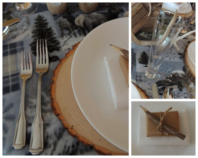 Tablescapes at Table Twenty-One, Woodland Men's Christmas Tablescape: Flatware, Stemware, Napkin & Favor collage