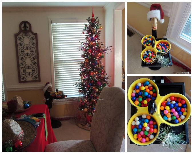 Tablescapes at Table Twenty-One – Christmas Fiesta: Geoffrey, Christmas tree, gumballs collage