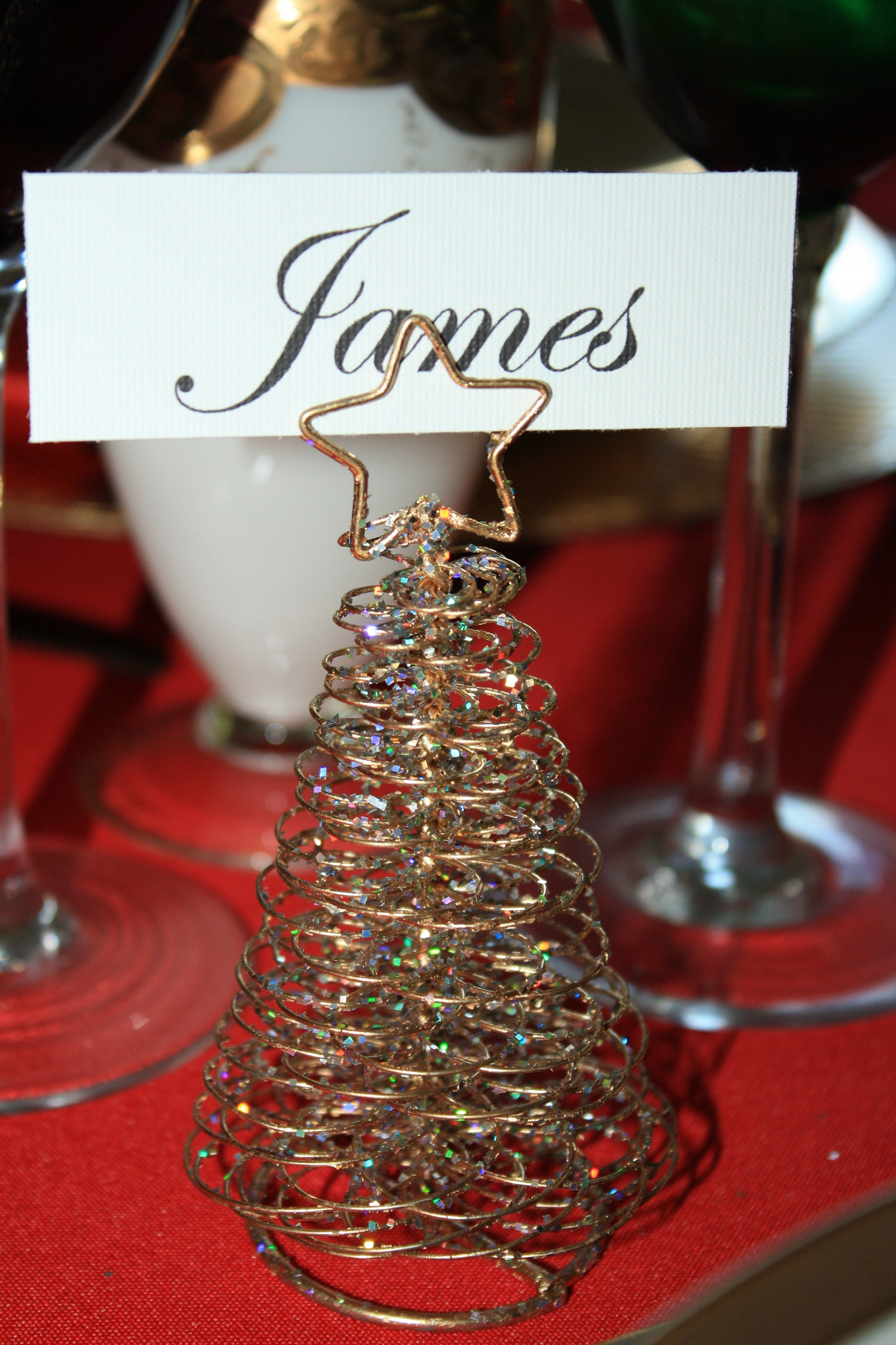 Tablescapes at Table Twenty-One, Merry & Bright Multi-Color Christmas: Gold metal place card holder