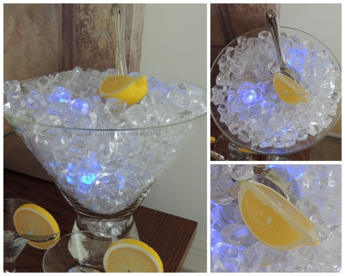 Tablescapes at Table Twenty-One, New Year's Eve Tablescape – Hooray for Vodka!: Martini ice bucket with lemon collage