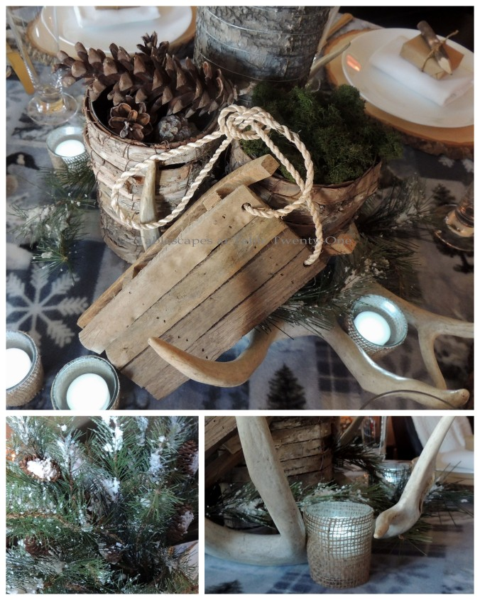 Tablescapes at Table Twenty-One, Woodland Men's Christmas Tablescape: Sled, greenery, burlap votive collage