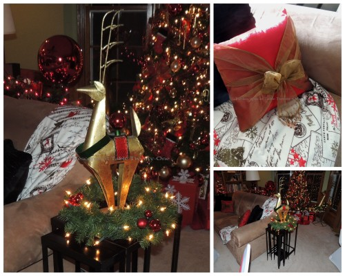 Tablescapes at Table Twenty-One, 'Twas the Night Before Christmas: Sofa, reindeer on side table collage