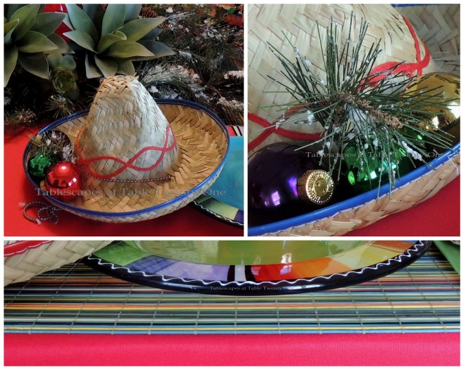 Tablescapes at Table Twenty-One – Christmas Fiesta: Sombrero, runner collage