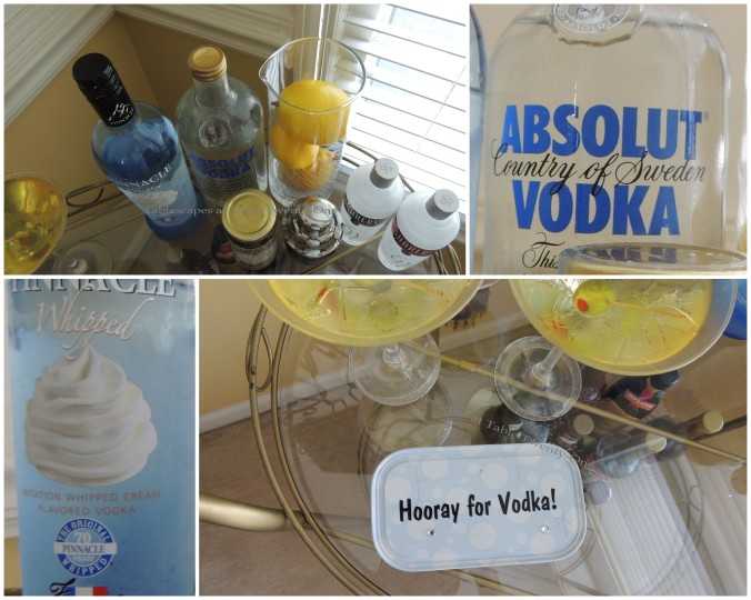 Tablescapes at Table Twenty-One, New Year's Eve Tablescape – Hooray for Vodka!: Tea cart collage