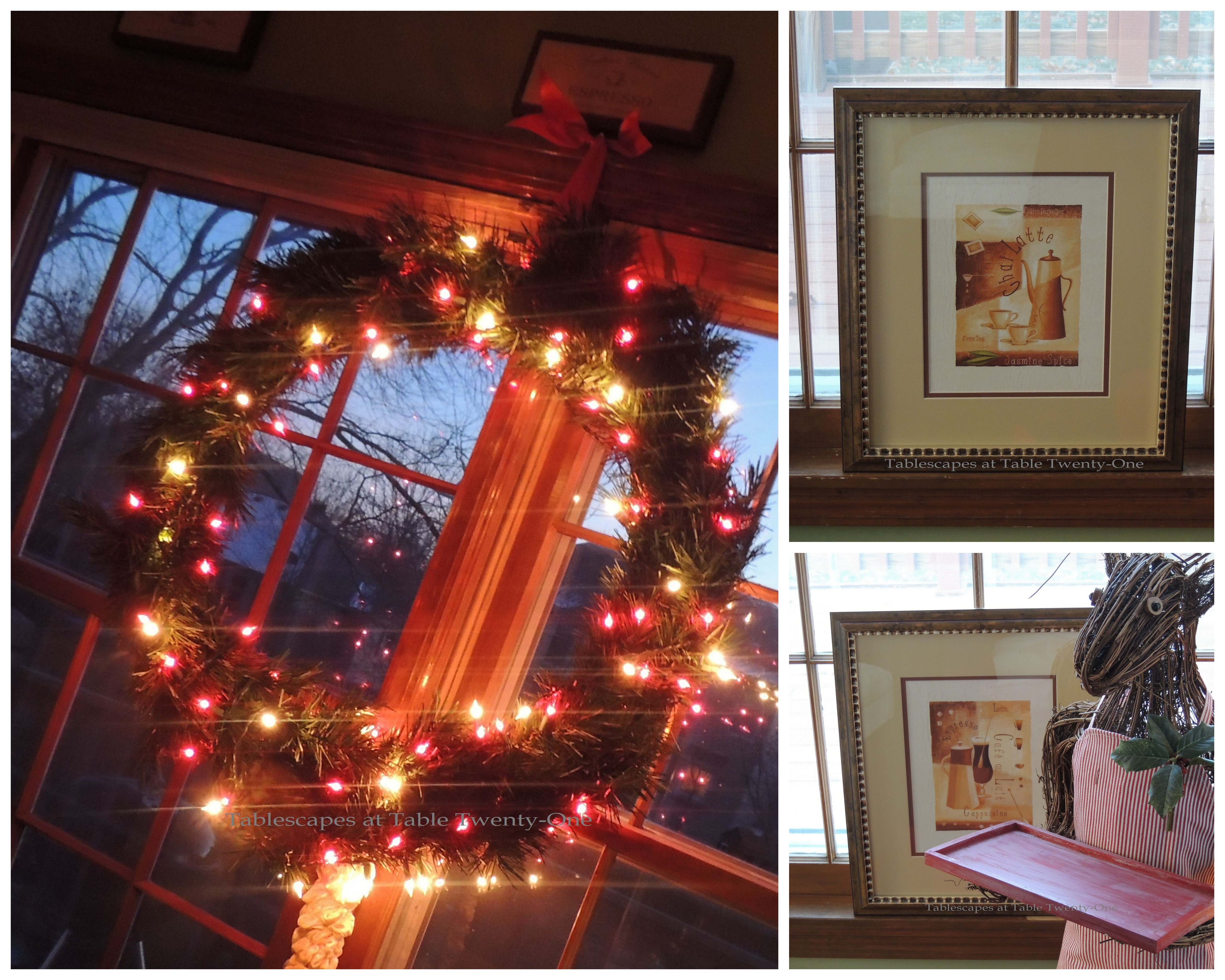 Tablescapes at Table Twenty-One, Christmas Coffee: Wreath, coffee prints collage