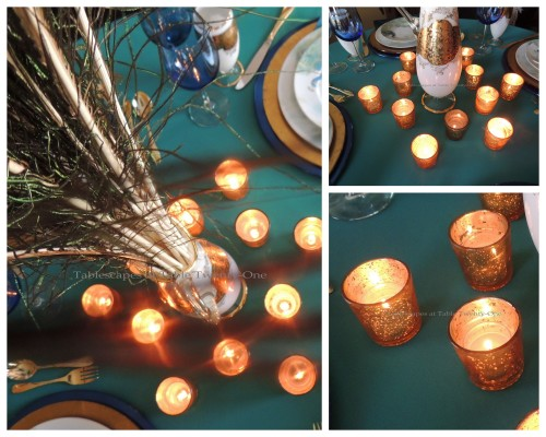 Tablescapes at Table Twenty-One, www.tabletwentyone.wordpress.com - Simply Peacock Garden: Centerpiece collage