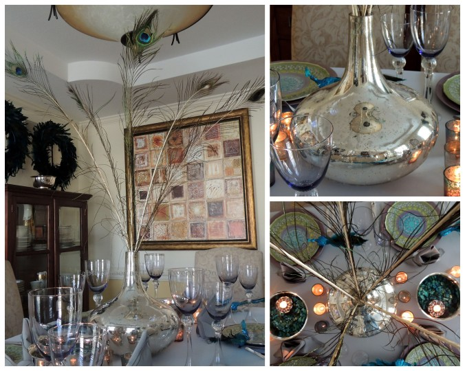 Tablescapes at Table Twenty-One, www.tabletwentyone.wordpress.com - The Peacock Effect: Centerpiece vase collage