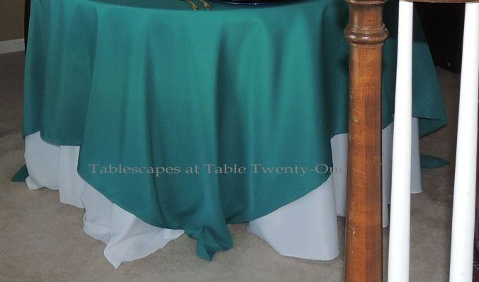 Tablescapes at Table Twenty-One, www.tabletwentyone.wordpress.com - Simply Peacock Garden: LinenTablecloth.com layered linens in turquoise and white