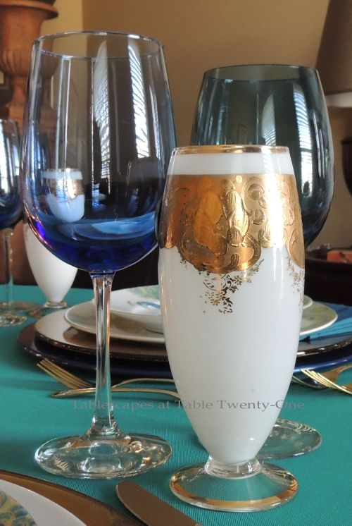 Tablescapes at Table Twenty-One, www.tabletwentyone.wordpress.com - Simply Peacock Garden: Stemware