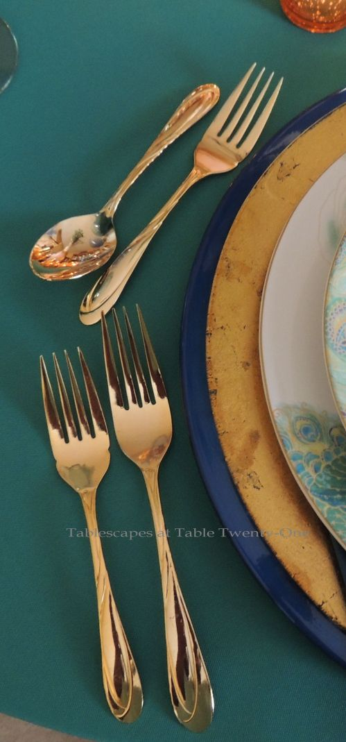 Tablescapes at Table Twenty-One, www.tabletwentyone.wordpress.com - Simply Peacock Garden: Flatware placement