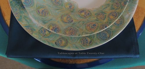 Tablescapes at Table Twenty-One, www.tabletwentyone.wordpress.com - Simply Peacock Garden: Napkin & rim shot
