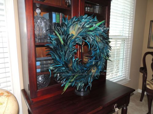 Tablescapes at Table Twenty-One, www.tabletwentyone.wordpress.com - Simply Peacock Garden: Peacock wreath on secretary door