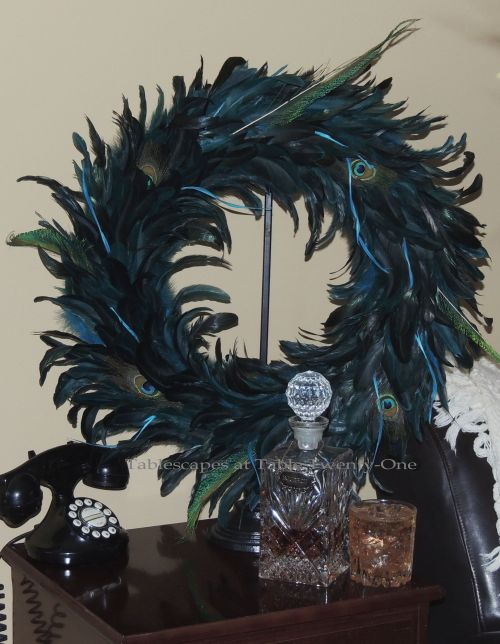 Tablescapes at Table Twenty-One, www.tabletwentyone.wordpress.com - Simply Peacock Garden: Peacock wreath on side table