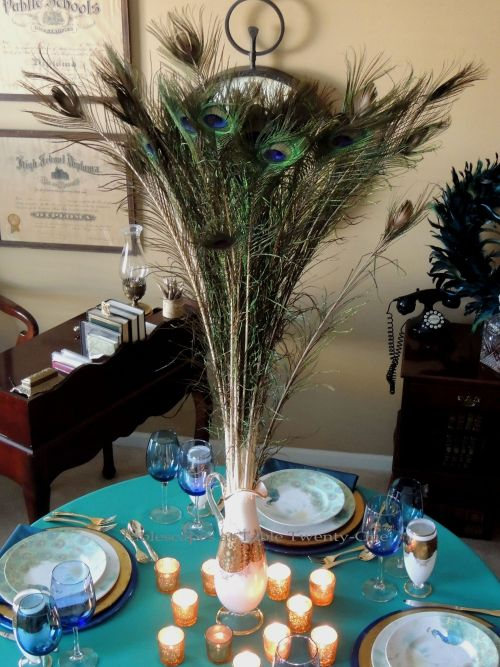 Tablescapes at Table Twenty-One, www.tabletwentyone.wordpress.com - Simply Peacock Garden: Full centerpiece