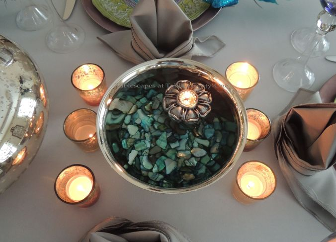 Tablescapes at Table Twenty-One, www.tabletwentyone.wordpress.com - The Peacock Effect: Silver Revere bowl with turquoise agate and floating candle