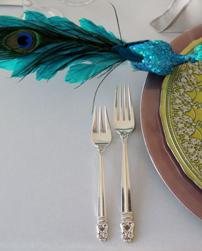Tablescapes at Table Twenty-One, www.tabletwentyone.wordpress.com - The Peacock Effect: Flatware and rim shot