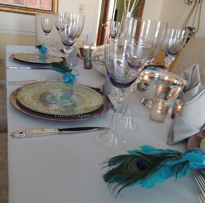 Tablescapes at Table Twenty-One, www.tabletwentyone.wordpress.com - The Peacock Effect: Double place setting