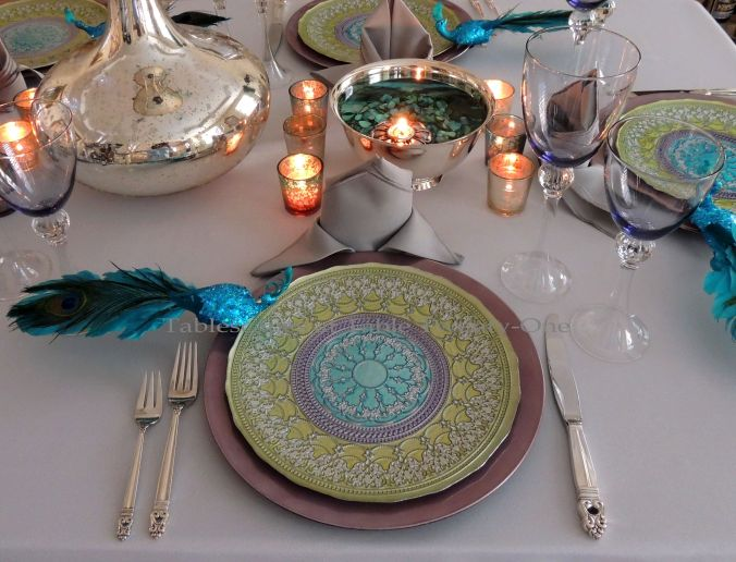 Tablescapes at Table Twenty-One, www.tabletwentyone.wordpress.com - The Peacock Effect: Single place setting