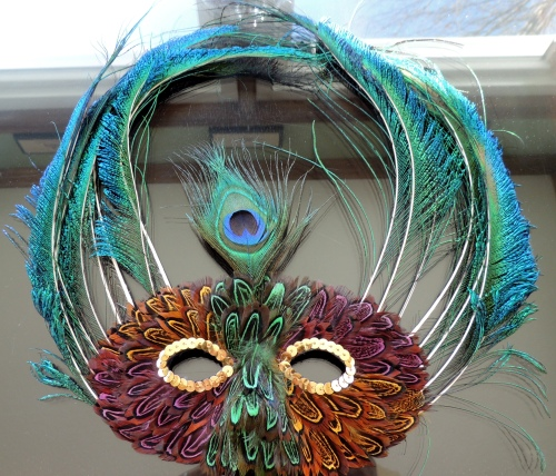 Tablescapes at Table Twenty-One, www.tabletwentyone.wordpress.com - The Peacock Effect: Feathered mask for Mardi Gras