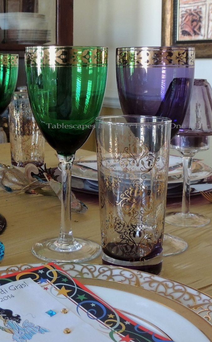 Tablescapes at Table Twenty-One, www.tabletwentyone.wordpress.com: Celebrate Mardi Gras! - Pier 1 stemware/TJ Maxx glassware