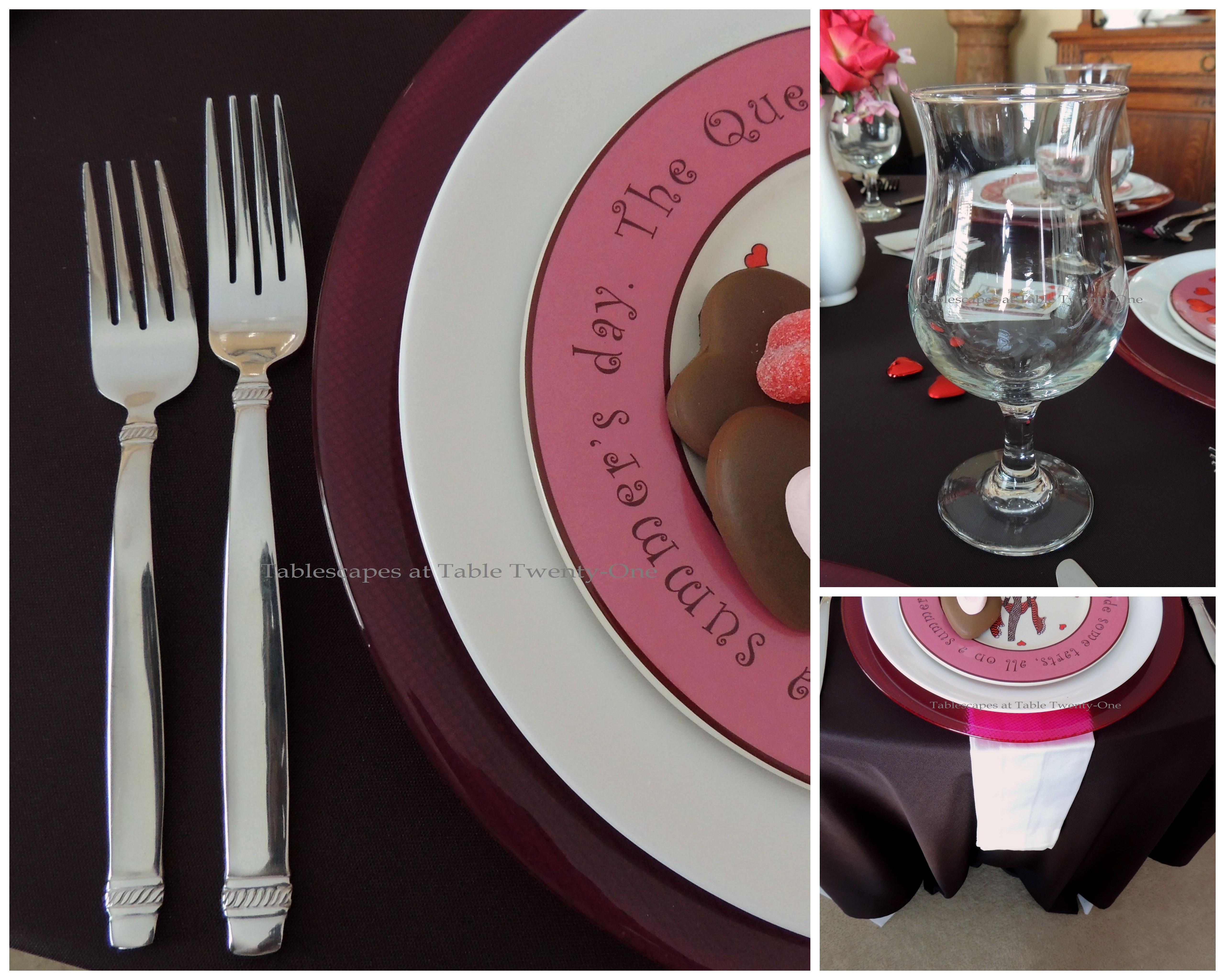 Tablescapes at Table Twenty-One, www.tabletwentyone.wordpress.com, Queen of Hearts Card Party: Flatware, stemware, napkin & rim shot collage