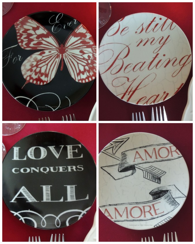 Tablescapes at Table Twenty-One – Be Still My Beating Heart: Four plate collage