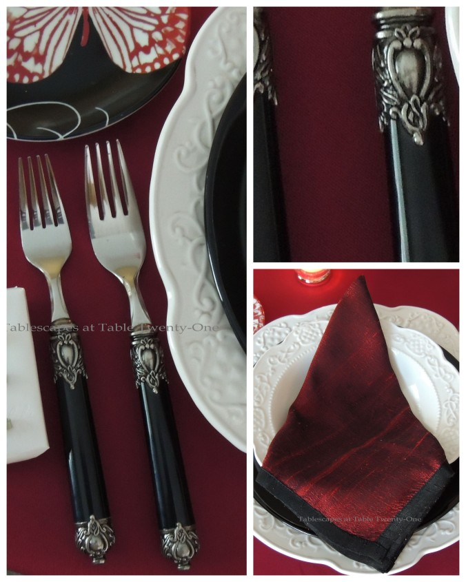 Tablescapes at Table Twenty-One – Be Still My Beating Heart: Napkin & flatware collage