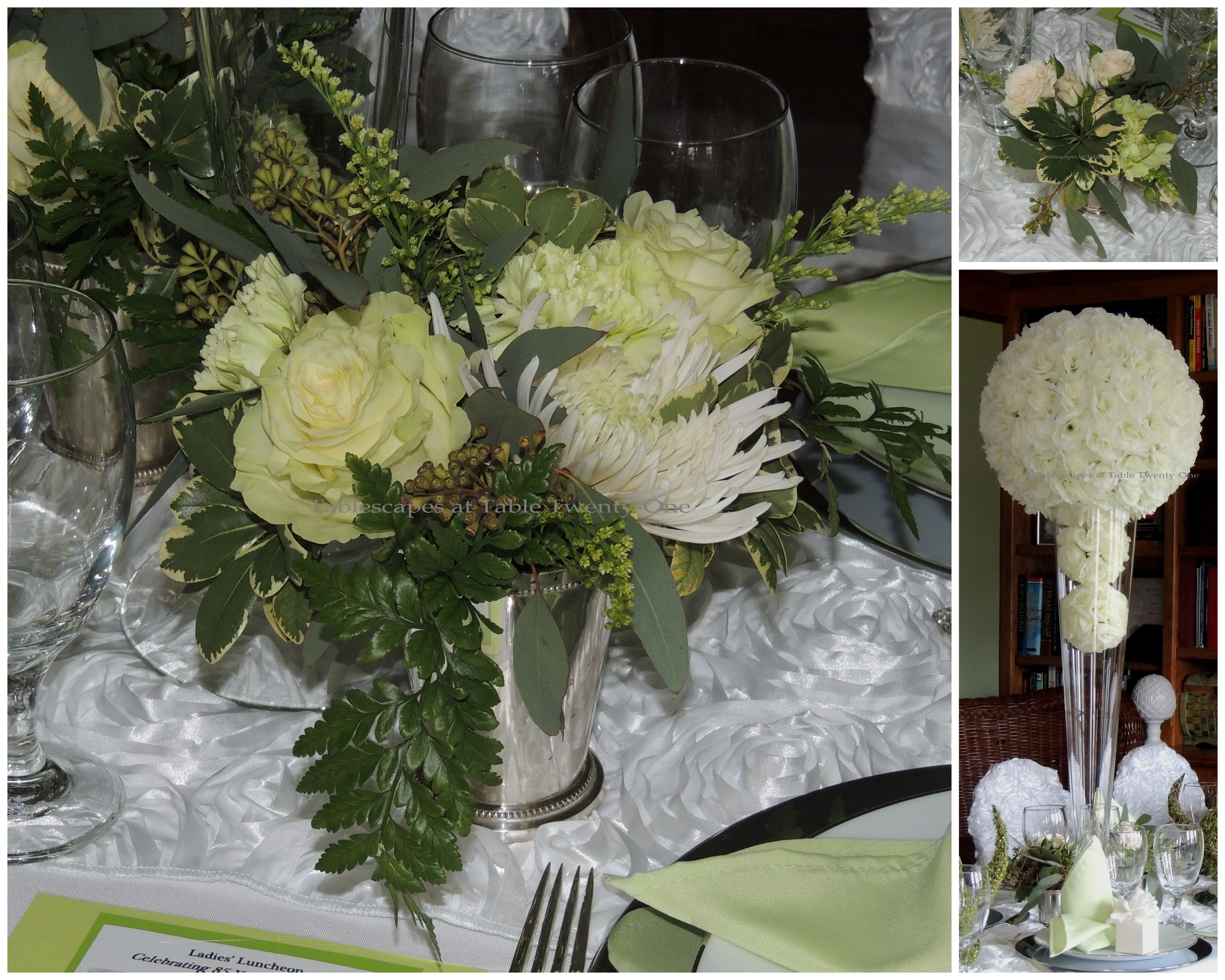 Tablescapes at Table Twenty-One, www.tabletwentyone.wordpress.com: Celebrating 85 Years of Fabulous - Centerpiece floral collage