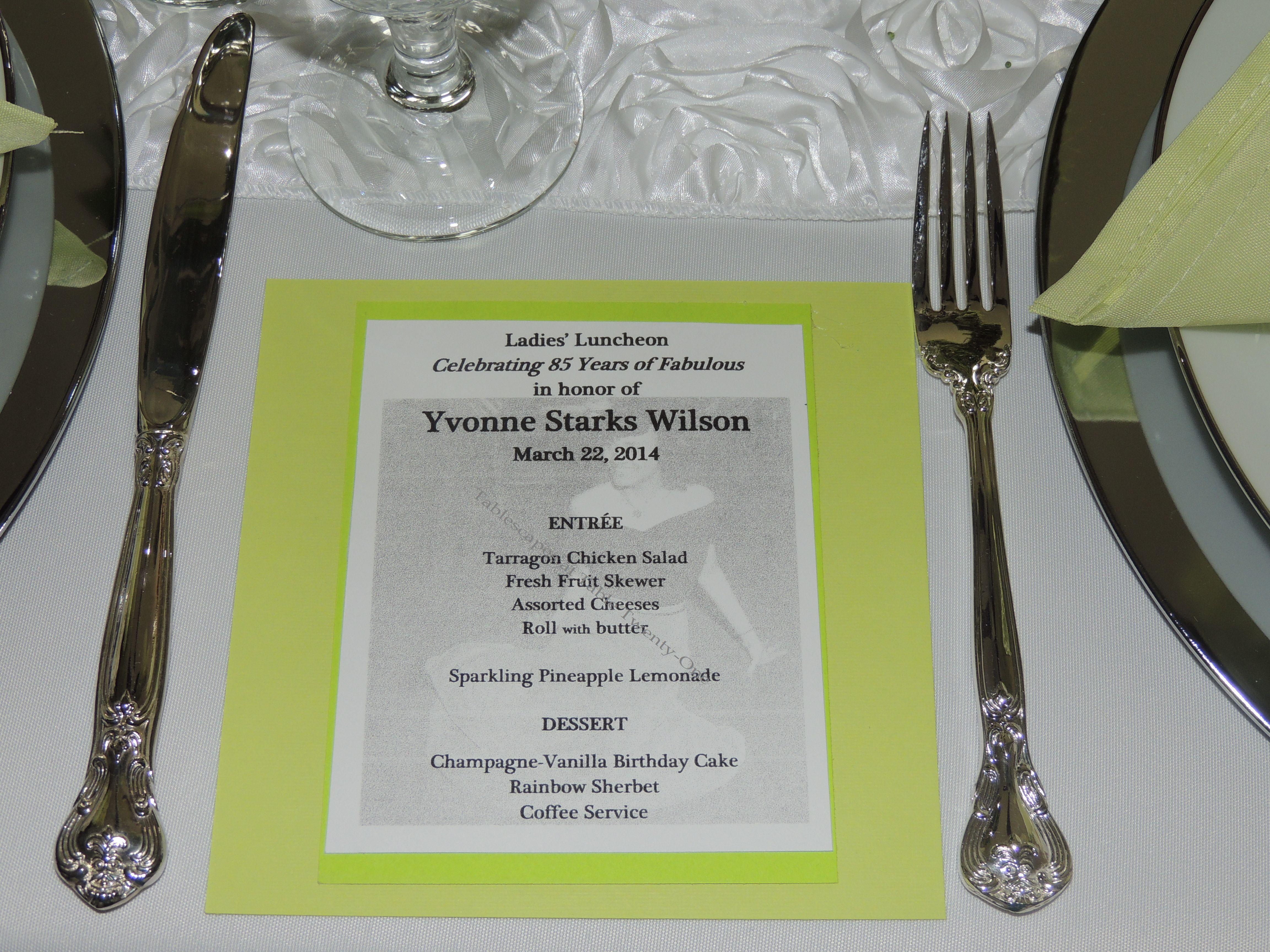 Tablescapes at Table Twenty-One, www.tabletwentyone.wordpress.com: Celebrating 85 Years of Fabulous - Menu