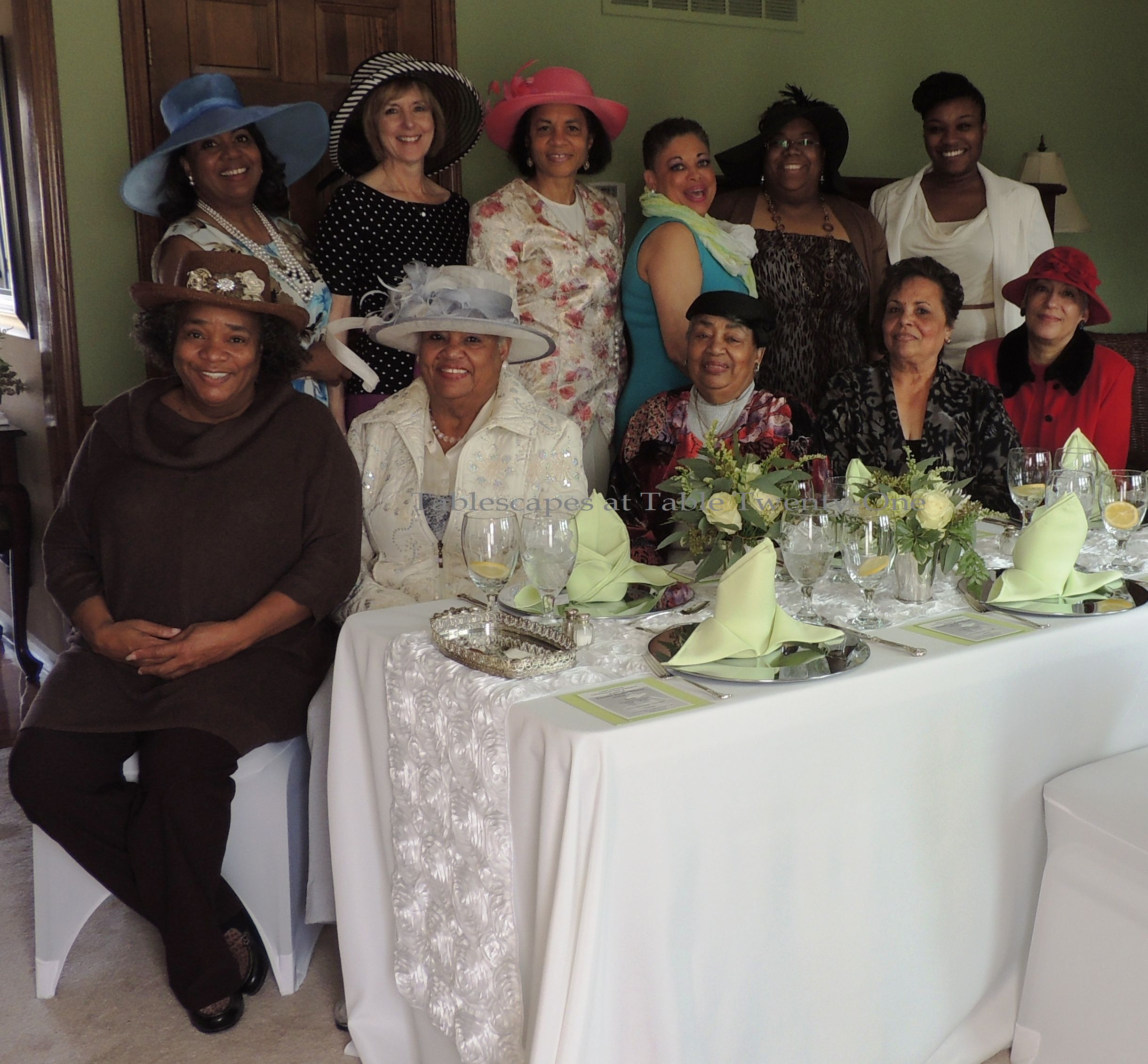 Tablescapes at Table Twenty-One, www.tabletwentyone.wordpress.com: Celebrating 85 Years of Fabulous - Group photo at Mom's 85th Birthday luncheon