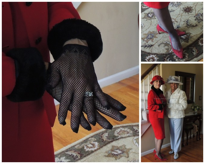 Mom with my cousin, Irene, who was stunning in red & black. Check out those fishnet gloves and fabulous shoes!!!