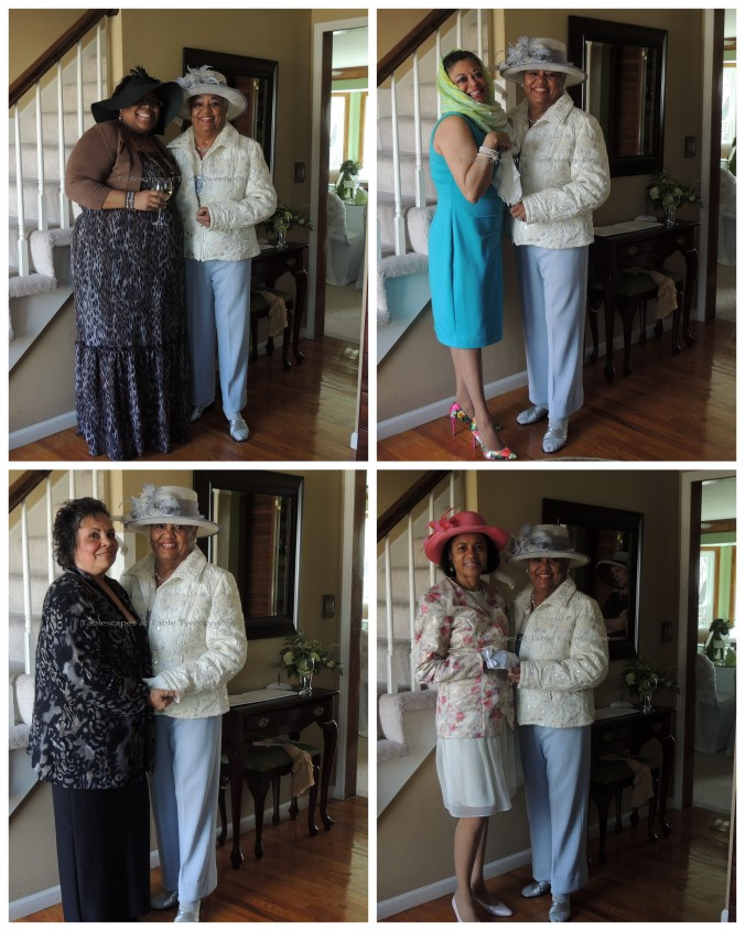 Clockwise from upper left: My Mom with my social butterfly niece, Von; with my stylish cousin, Dee, whose scarf reminded us of movie stars from the 50s and 60s; with my cousin Cynthia, whose fabulous gloves boasted bows at the wrist, and; with my beautiful inside & out cousin Madeline from my Daddy's side of the family.