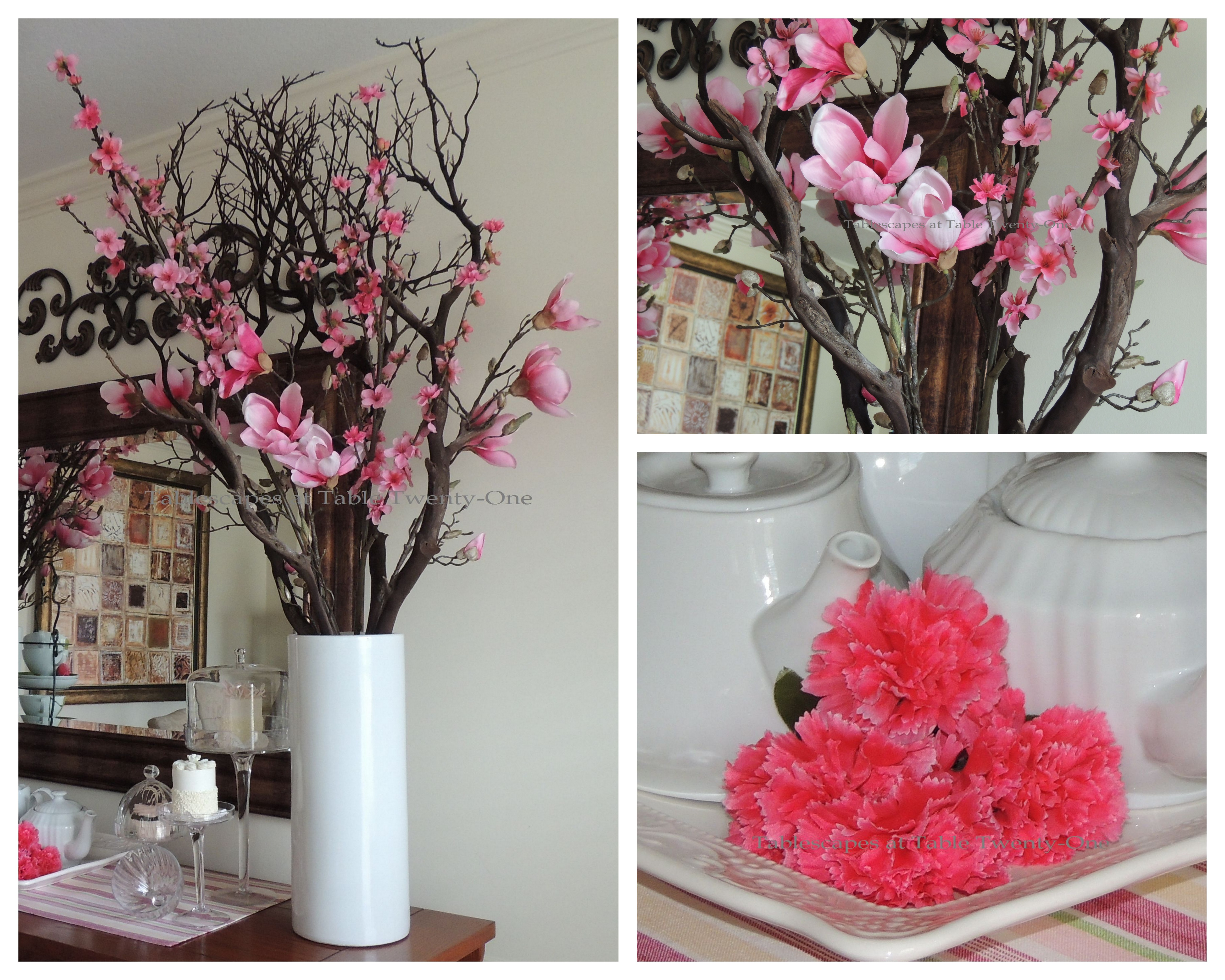 Tablescapes at Table Twenty-One, www.tabletwentyone.wordpress.com - All A'Bloom in Pink for Spring: Buffet florals collage