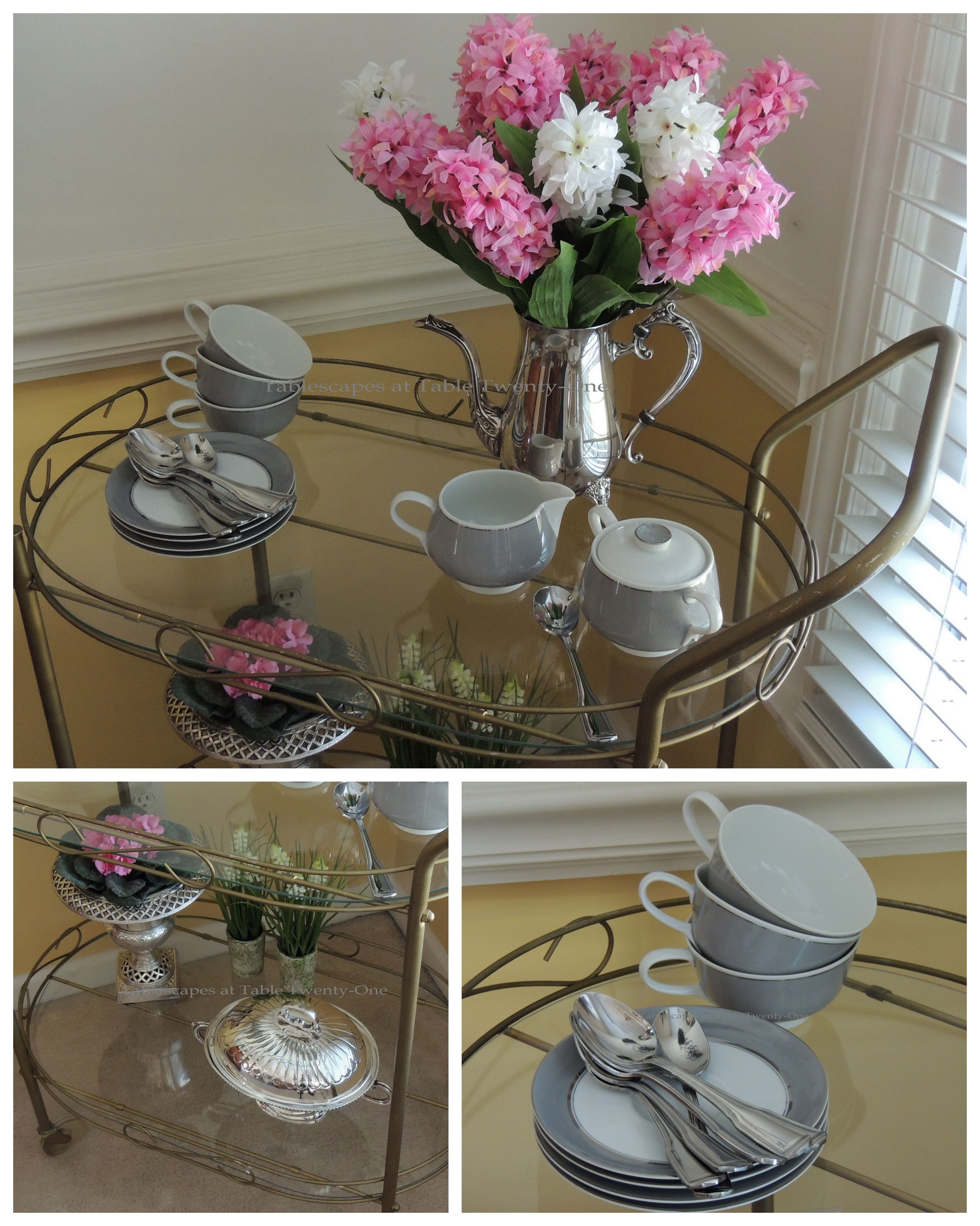 Tablescapes at Table Twenty-One, www.tabletwentyone.wordpress.com - Easter in Pink & Grey: Cart top, cart bottom, cups & saucers collage