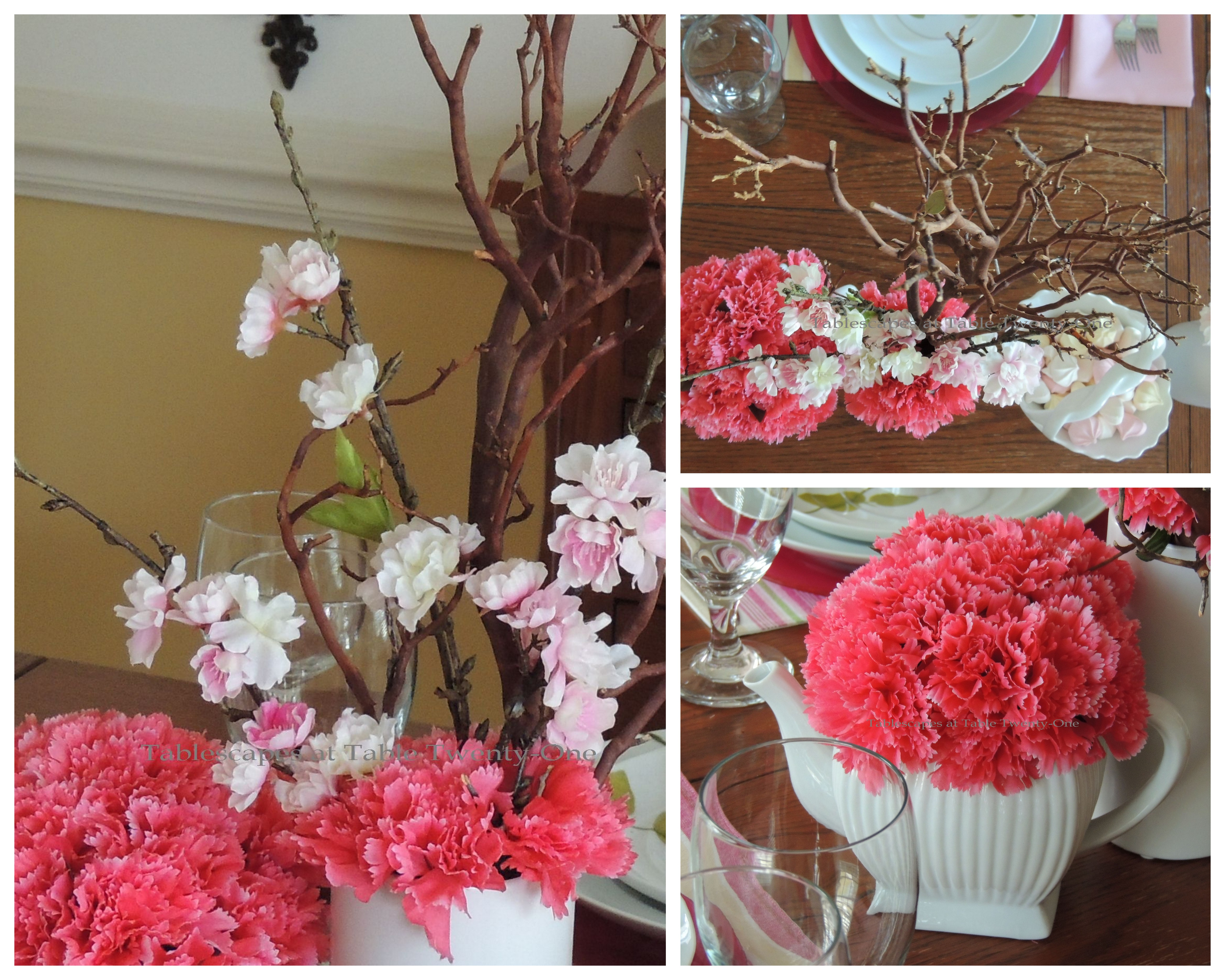 Tablescapes at Table Twenty-One, www.tabletwentyone.wordpress.com - All A'Bloom in Pink for Spring: deep pink carnations in white ceramic teapots