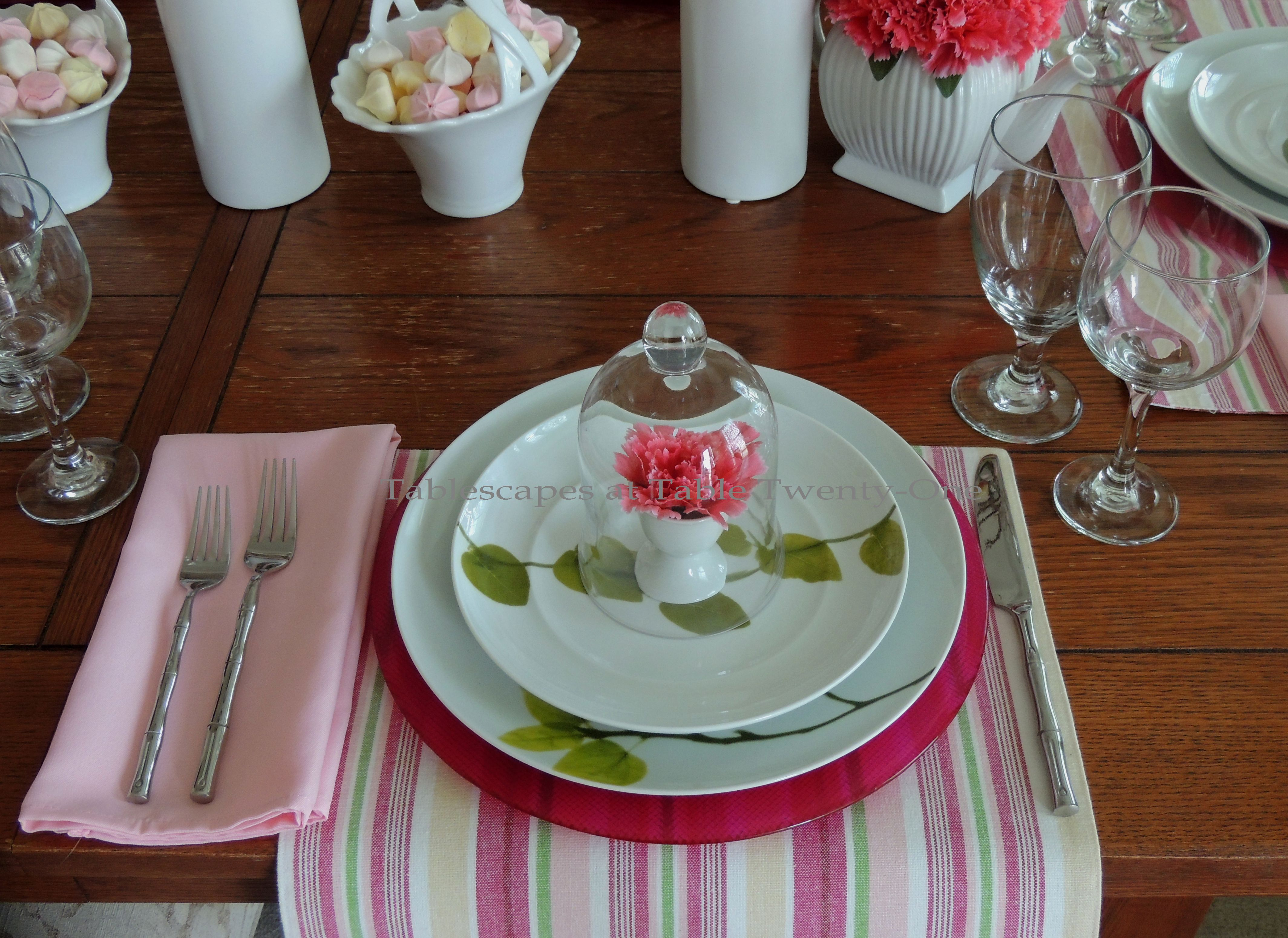 Tablescapes at Table Twenty-One, www.tabletwentyone.wordpress.com - All A'Bloom in Pink for Spring: Single place setting