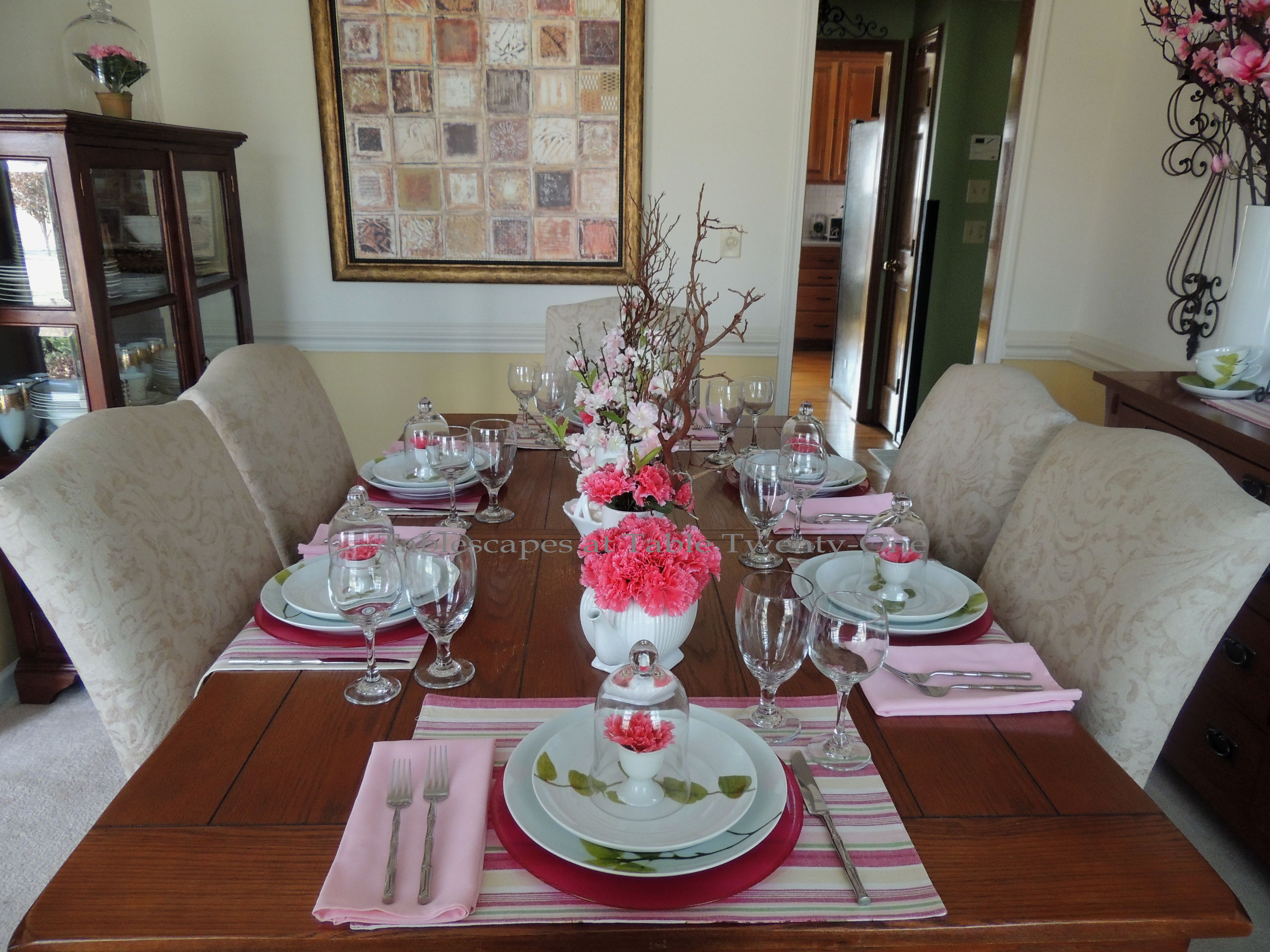 Tablescapes at Table Twenty-One, www.tabletwentyone.wordpress.com - All A'Bloom in Pink for Spring: Full table lengthwise