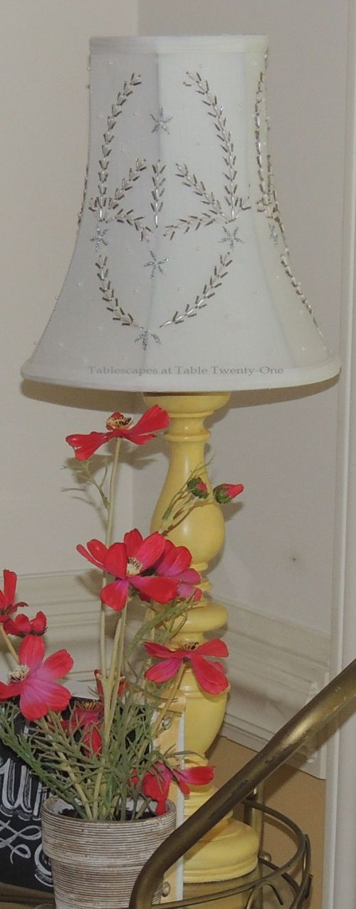 Tablescapes at Table Twenty-One, www.tabletwentyone.wordpress.com - All A'Bloom in Pink for Spring: candlestick lamp