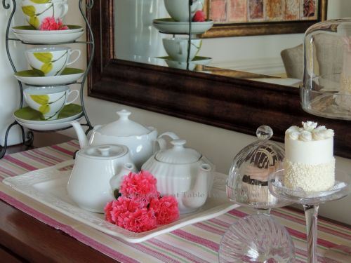 Tablescapes at Table Twenty-One, www.tabletwentyone.wordpress.com - All A'Bloom in Pink for Spring: Tray with teapots