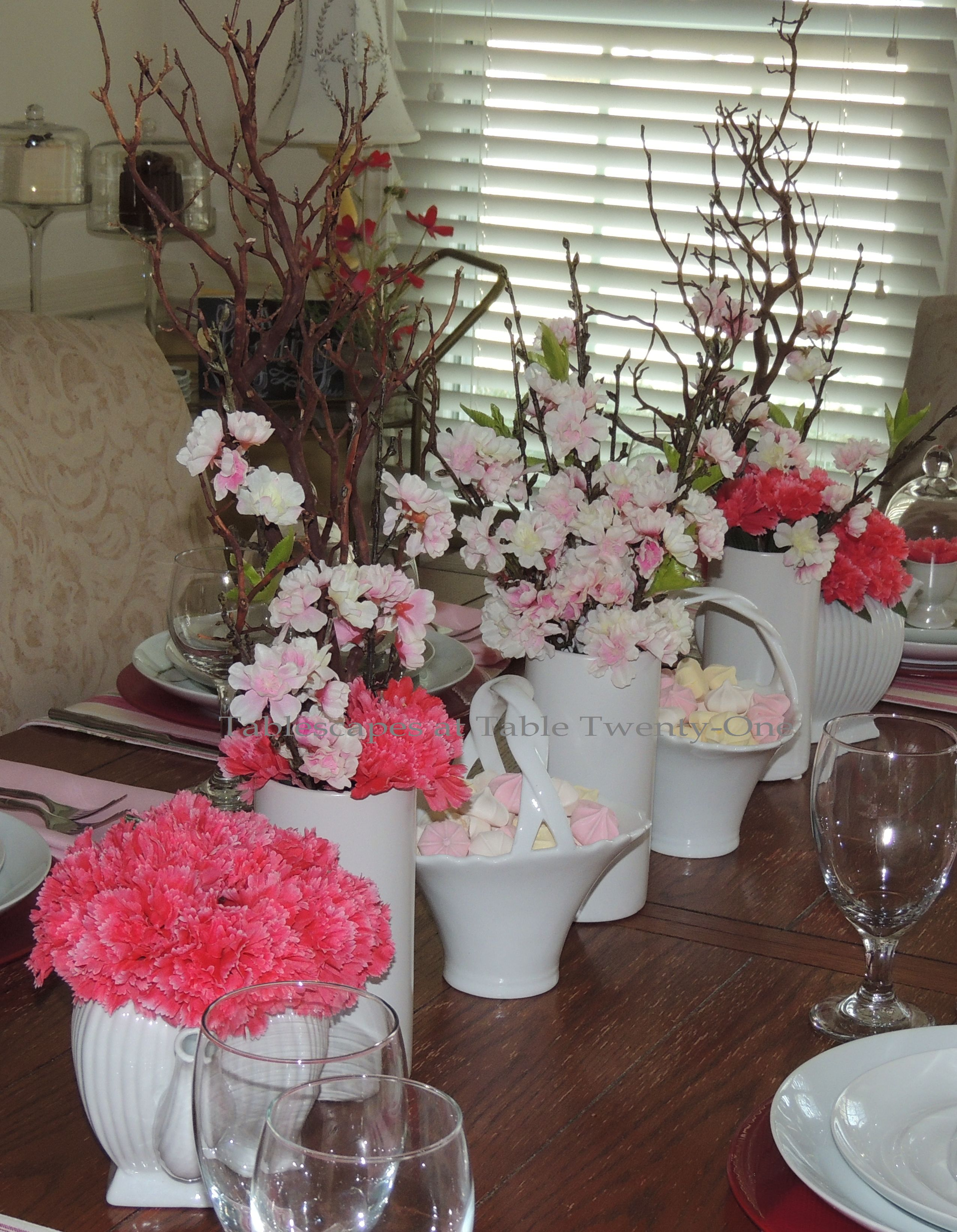 Tablescapes at Table Twenty-One, www.tabletwentyone.wordpress.com - All A'Bloom in Pink for Spring: Full centerpiece